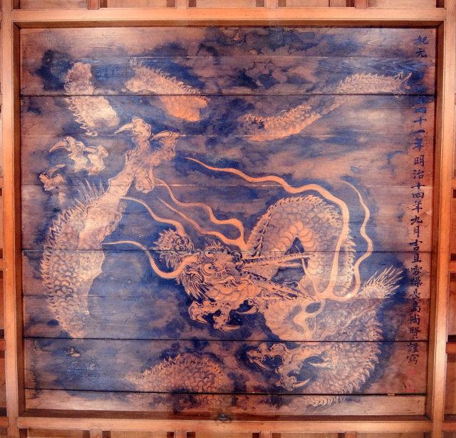 板墨画龍図天井
